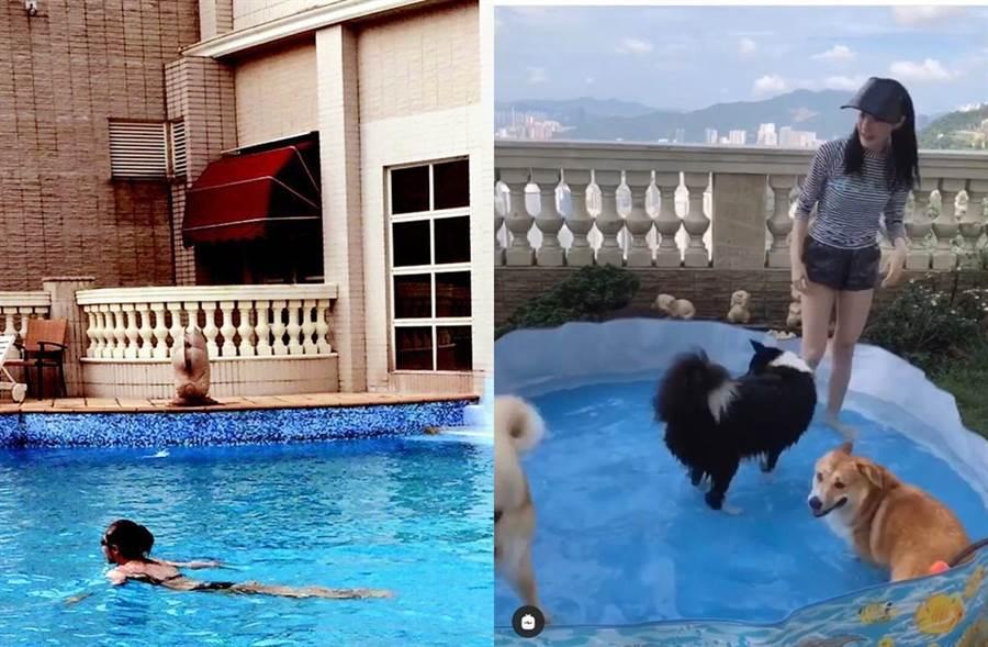 林夏薇豪宅曝光有超大泳池和露天花園。(圖/翻攝自IG)
