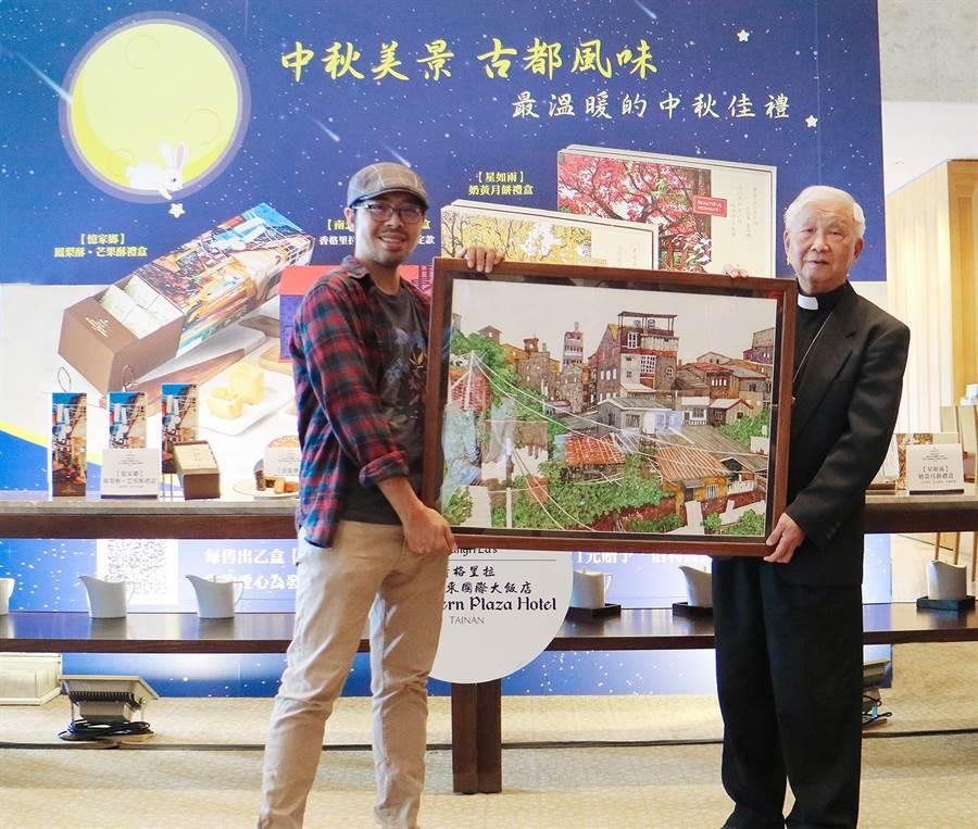 藝術家林致維(左二)致贈「台南開隆宮後院」畫作予伯利恆基金會作為收藏,由伯利恆基金會林吉男董事長接下。(香格里拉台南遠東國際大飯店提供/曹婷婷台南傳真)