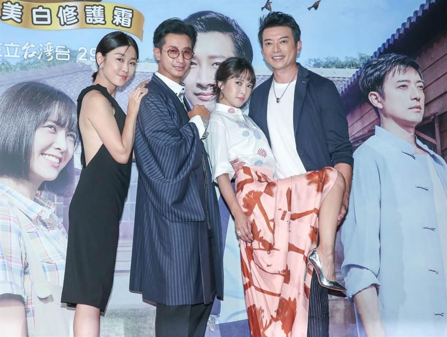 《羅雀高飛》29日首映會,左起為李維維、Darren、大元、田家達。(粘耿豪攝)