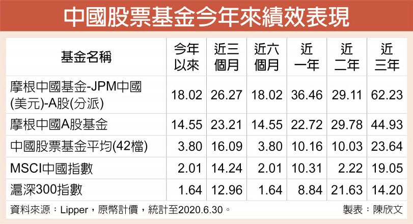 中國股票基金今年來績效表現