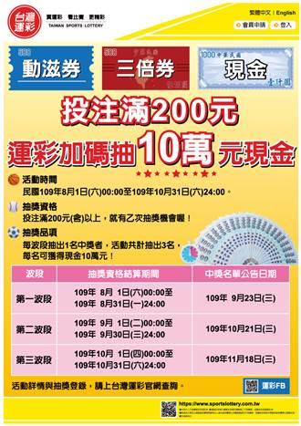 台湾运彩30万现金抽起来  加码促销跟着运彩动滋动