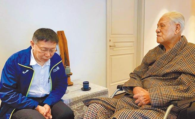 台北市長柯文哲說,對他來說李登輝就是個「英雄人物」。圖為柯文哲去年2月12日前往翠山莊探視李登輝。(摘自柯文哲臉書)