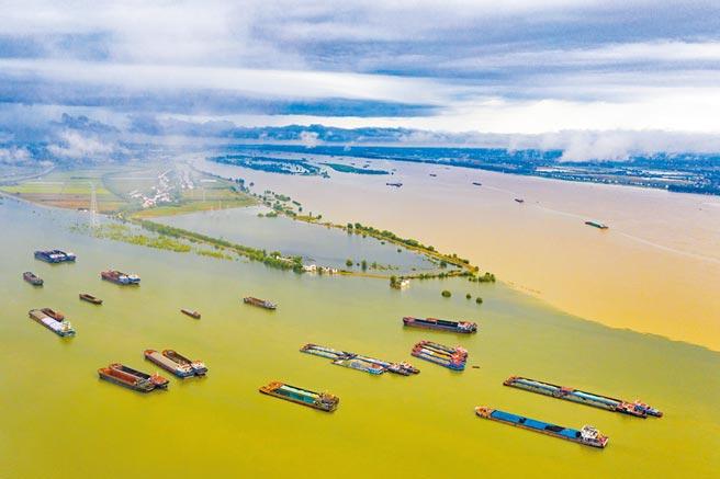 7月27日,江西省九江市鄱陽湖和長江交匯處呈現涇渭分明的兩色景觀。(中新社)