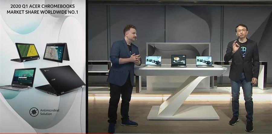宏碁第二季在歐洲Chromebook市場以逾3成市占拿下銷售之冠。(圖/宏碁next@acer 2020線上發表會)