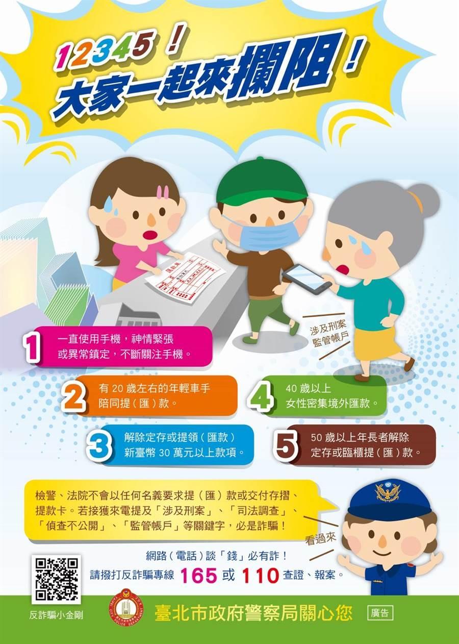 警方推出阻詐5特徵,呼籲民眾留意。(警方提供/陳鴻偉台北傳真)
