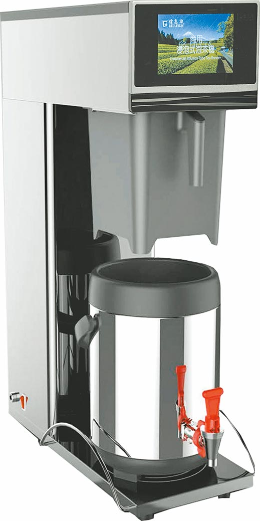 偉志牌智慧型浸泡式泡茶機可以先設定好水溫、水量,濾杯最大泡茶量11公升,可依電腦程式控制四段出水模式,並可依各種不同茶葉性質設定泡茶洗程次數。圖/業者提供