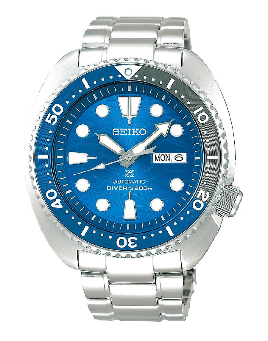 Global Mall新北中和店推薦SEIKO PROSPEX藍鯊潛水機械表,原價1萬7000元,優惠價1萬1900元。(Global Mall提供)