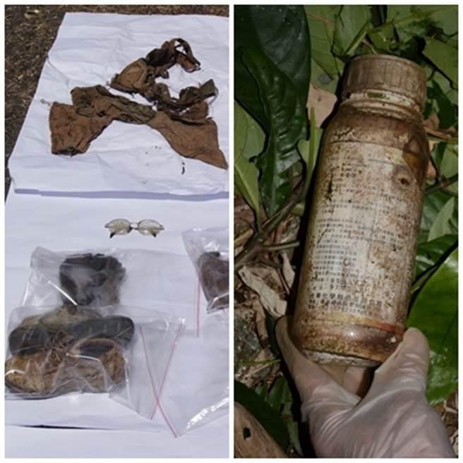 警方在花蓮縣吉安鄉的白雲山,尋獲到疑似劉志勤穿著的運動鞋,以及林真米的貼身衣物,同時在附近找發現丟棄的農藥瓶罐。(中時資料庫)