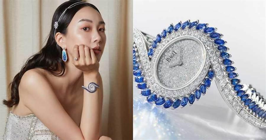 PIAGET「Limelight Gala系列」藍寶石及鑽石頂級珠寶腕錶,18K白金錶殼,23mm,364顆鑽石╱11,500,000元。(圖╱PIAGET提供)