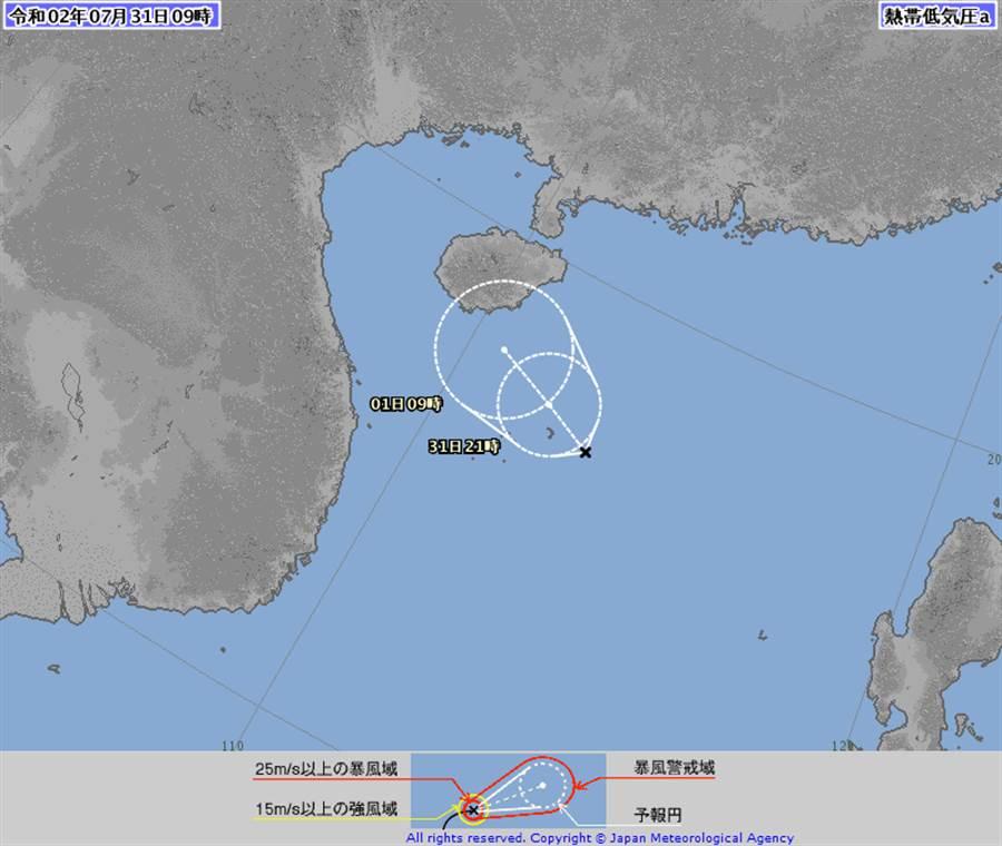 日本氣象廳認為,南海的季風低壓91W,有機會增強為第3號「辛樂克」颱風!(圖擷自日本氣象廳)