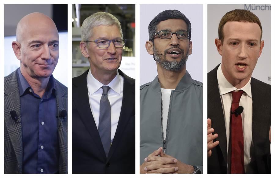 四大科技巨頭CEO接受國會議員一整天的「拷問」。(圖/路透社)