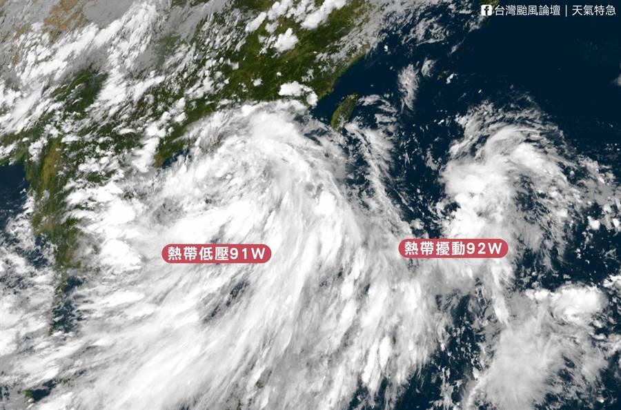年度第3號颱風「辛樂克」恐在明天生成,周日(2)起連續3天受到颱風外圍環流帶來水氣,恐帶來劇烈天氣。(圖摘自台灣颱風論壇)