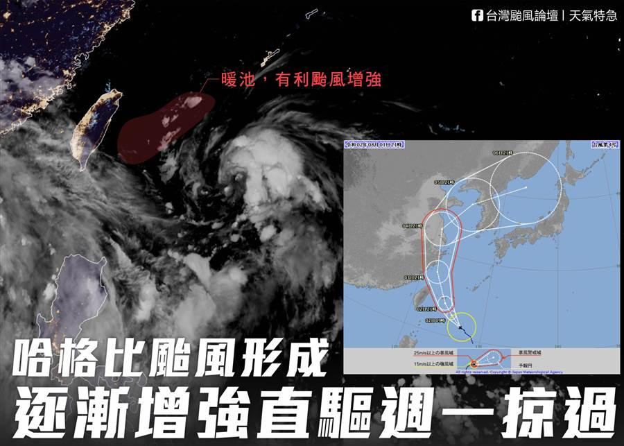 4號颱風哈格比生成,明天(周日)開始下雨,且越晚雨勢越強 (圖/台灣颱風論壇)