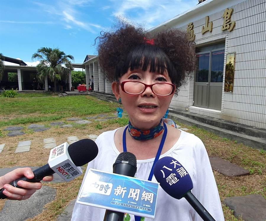 女星蔡閨坦言過去不知道龜山島可登島觀光。(照片/游定剛 拍攝)