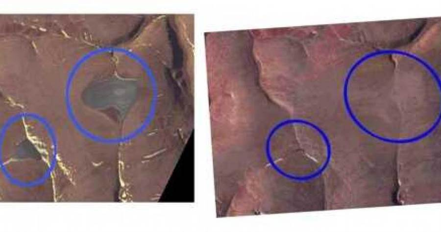 2020年7月14日拍攝的ASTER衛星影像中,卻沒有冰蓋的存在。(圖/Phys.org)