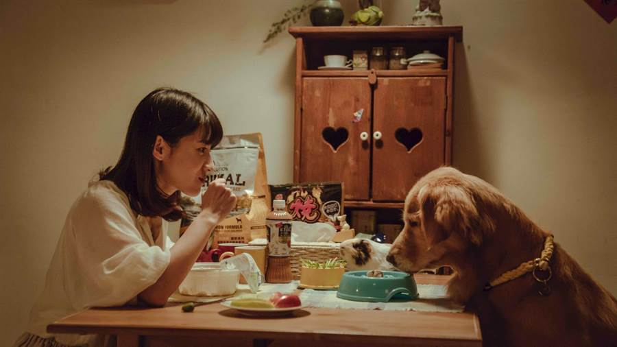 连俞涵与黄金猎犬小小、天竺鼠阿喵同桌吃饭。(LINE TV提供)