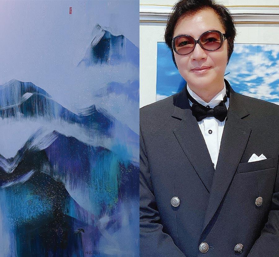 藝術家陳歡與今年法國秋季沙龍入選獲獎作品「山中傳奇」。圖/陳歡提供