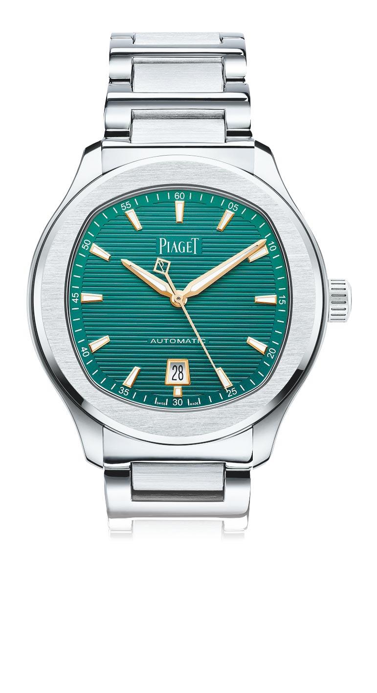 伯爵於父親節前夕推薦Polo系列孔雀綠面盤精鋼自動上鍊腕表,全球限量888只,38萬4000元。(PIAGET提供)