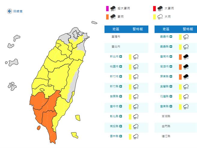 不斷更新》輕颱哈格比直逼台灣 大雨特報擴大至17縣市。(氣象局)