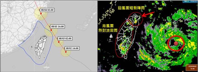 氣象職人吳聖宇預估明天(3日)天亮前到中午前後將通過台灣東北方海面,暴風圈邊緣大致將掠過東北部近海,最為接近台灣。(摘自吳聖宇臉書)