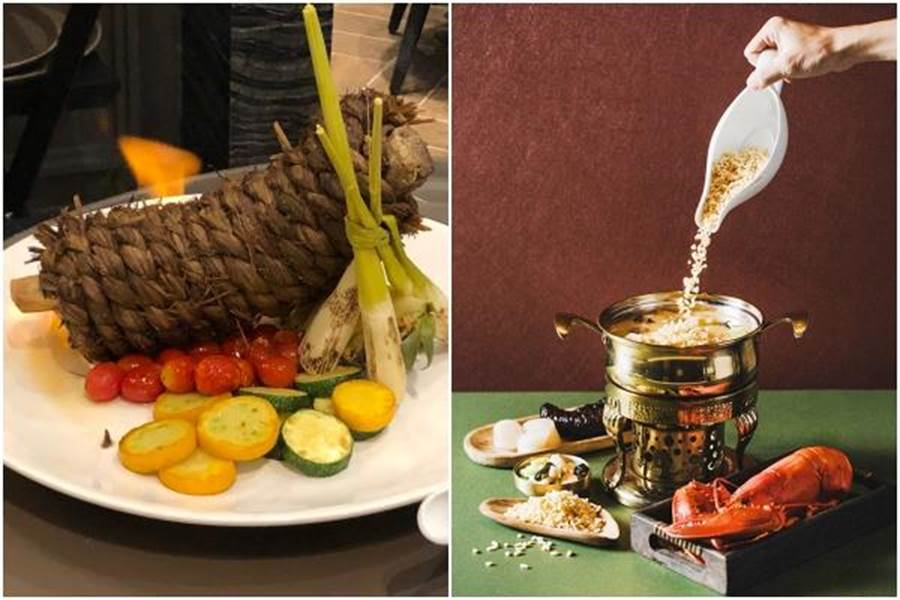 逸薈軒主廚推薦「川椒稻香牛肋排」與「金湯龍蝦海鮮響米」。(黃采薇攝、COZZI Blu和逸飯店桃園館提供)