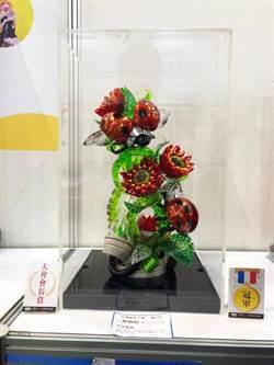 蛋糕技藝競賽 科大生詹勳翰拉糖作品「科技瓢蟲」獲大獎