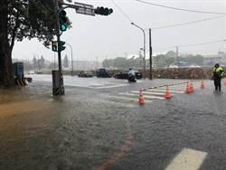 哈格比發威 桃園八德部分路段淹水過腳踝