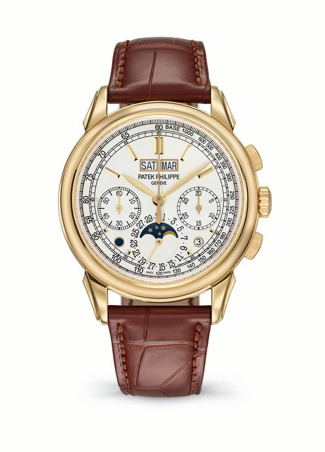 百達翡麗Ref.5270J-001萬年曆計時碼表,注入黃金元素更添奢華品味,514萬元。(Patek Philippe提供)