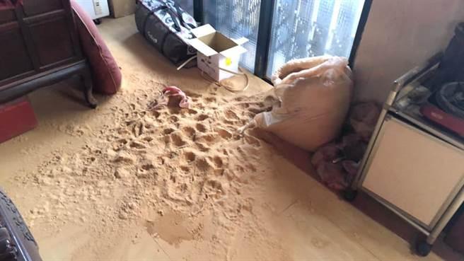 ruru竟然趁主人不注意咬破檀香粉,讓家裡一秒變沙灘。(圖/原PO授權提供)