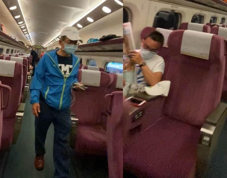 立委洪孟楷(右)、賴士葆被拍到搭高鐵回台北。(圖/摘自只是堵藍臉書)