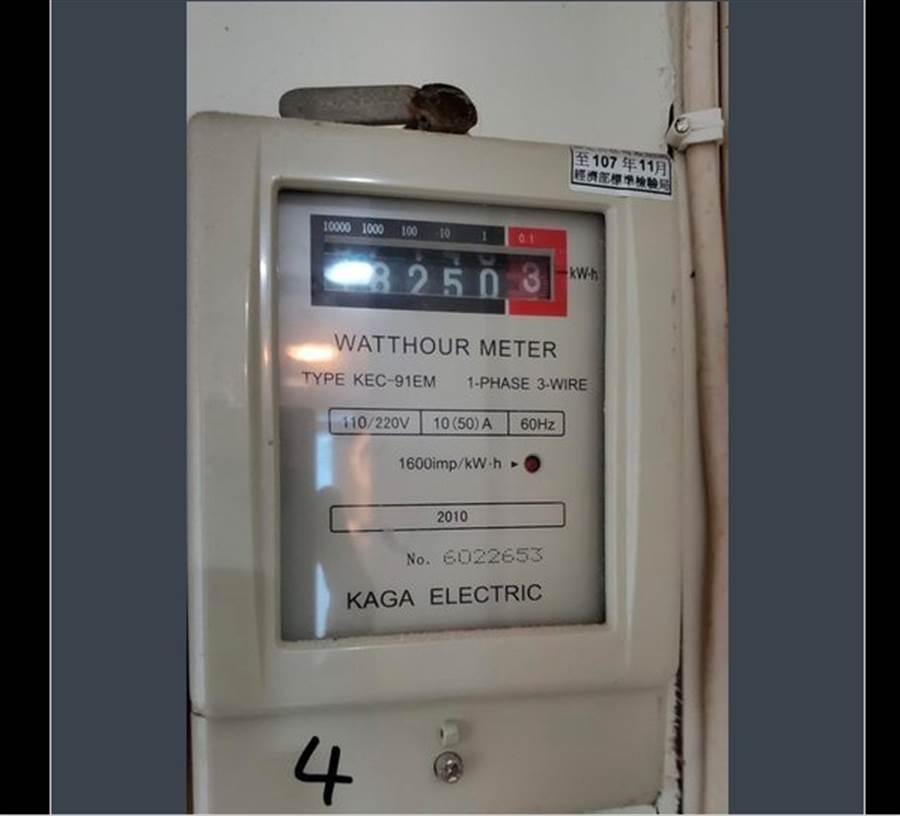 網友發出自己電表的圖片,表示單月用量就高達400度。(圖擷取自PTT)