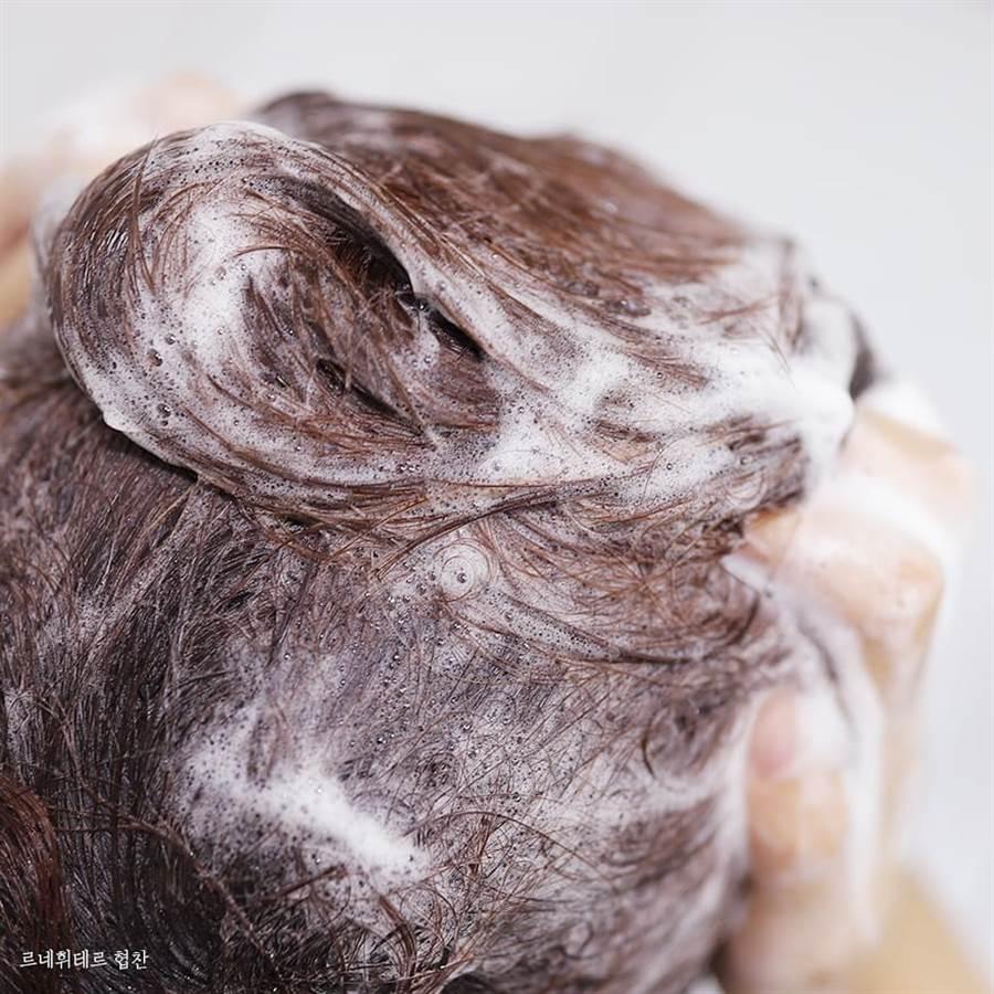 以清潔去油的洗髮精按摩頭皮,並停留3分鐘加強去除頭皮油脂及髮絲異味再洗淨。(圖/品牌提供)
