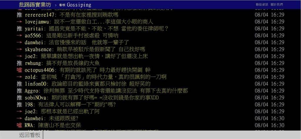 網友在PTT上討論徐永明交保原因。(取自PTT)