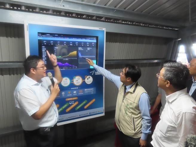 「智慧渔业数位分身」技术,整合各项统计资料,建置如同水中分身的「智慧水产云」科技养殖系统,协助渔民做好生产管理。(庄曜聪摄)