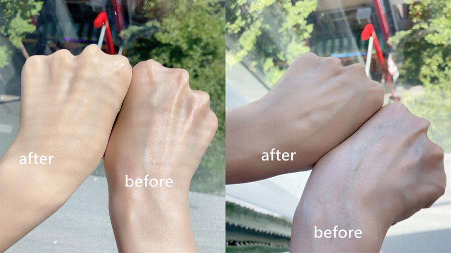 蜜桃BB霜柔霧的質地輕鬆遮蓋肌膚瑕疵,可看出手背血管使用後明顯被修飾。(圖/邱映慈攝影)