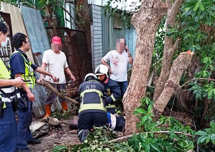 救护人员赶到接手急救,并送清泉医院抢救,老农仍因溺水过久,回天乏术。(民眾提供/王文吉台中传真)