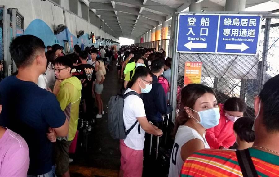 大批滯留綠島的旅客,4日擠進南寮漁港碼頭。(民眾提供/莊哲權台東傳真)