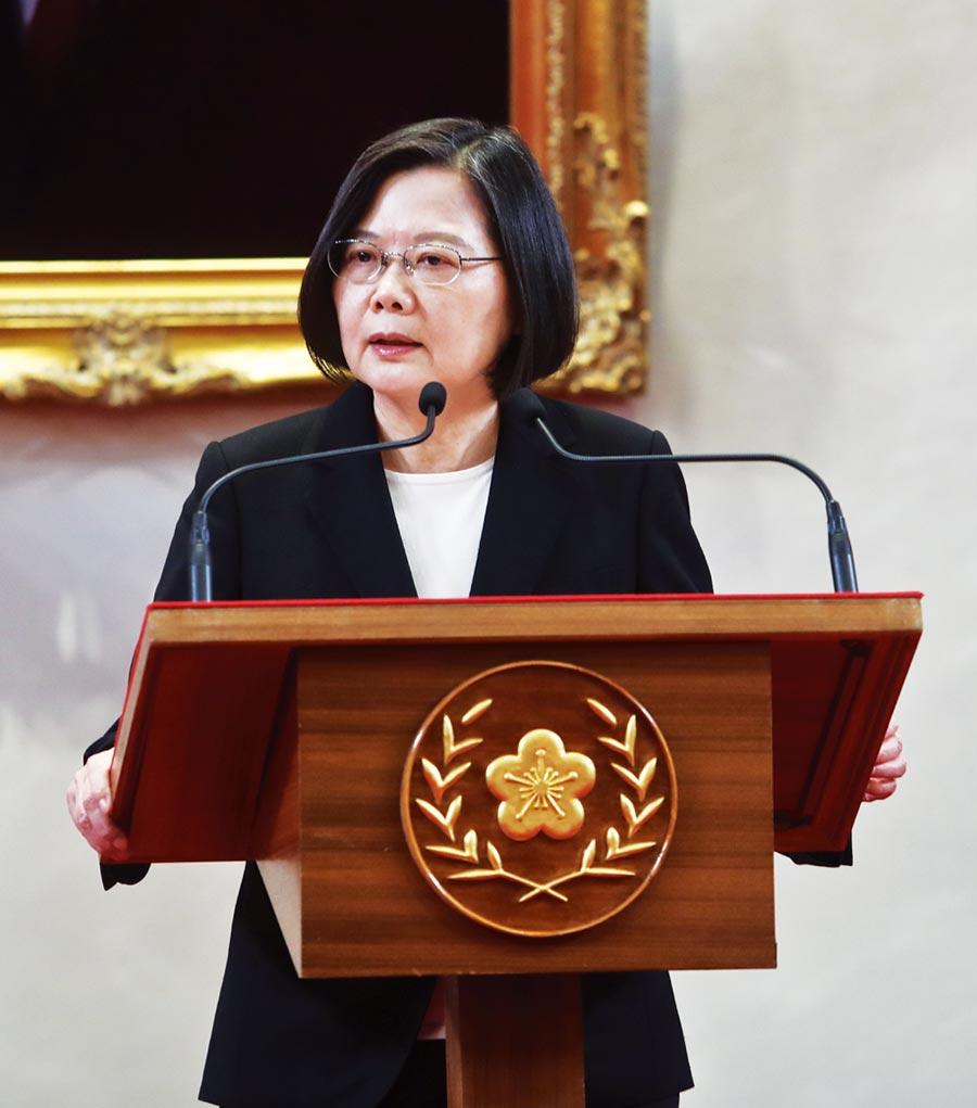 總統府3日舉行記者會,蔡英文總統(圖)宣布由李大維接任總統府祕書長一職。(劉宗龍攝)