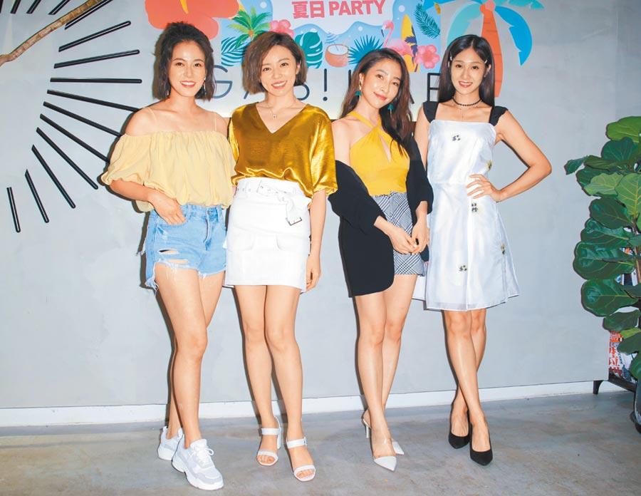 蘇晏霈(左起)、王瞳、張家瑋、邱子芯昨出席《多情城市》活動。(吳松翰攝)