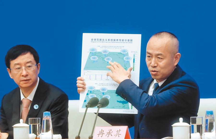 8月3日,北斗衛星導航系統新聞發言人冉承其(右),展示「全球範圍北斗系統服務性能示意圖」。(中新社)