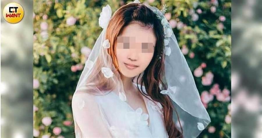 盧女雖然願意與石男結婚,卻拒絕與石男親密接觸,臉書上也沒有與丈夫和小孩的照片,僅有一張電腦合成的婚紗獨照。(圖/讀者提供)