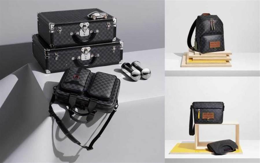LOUIS VUITTON Utility Business Bag front公事包/89,000元,(右上)LOUIS VUITTON Gaston Labels Discovery Backpack背包/83500元;(右下) LOUIS VUITTON Gaston Labels Discovery Bumbag包款/78,000元。(图/品牌提供)