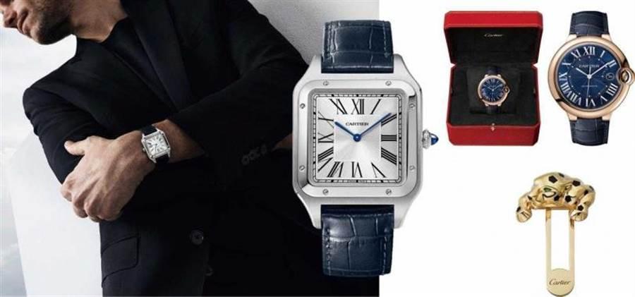 (左)Santos-Dumont 腕表,超大型款/180,000元;(右上)Ballon Bleu de Cartier 腕表,42 毫米/485,000元;(右下)Panthère de Cartier 美洲豹口袋别针/287,000元(图/品牌提供)