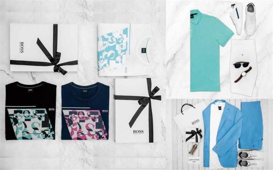 (左)BOSS 深蓝色动物纹迷彩印花丝光棉T恤 /4,400元;(右上)BOSS粉彩土耳其蓝纯棉Polo衫/4,400元(图/品牌提供)