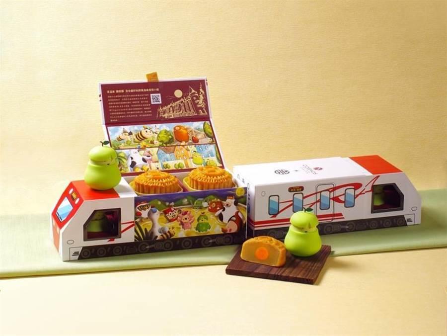 「台鐵限定柚比快飛月餅禮盒」。圖/台鐵局提供