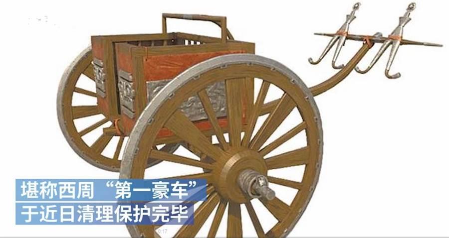 西周「第一豪车」,青铜轮牙马车已清理保护完毕。(图/中新网)