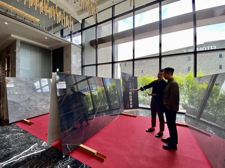 採用「MML瑪摩麗磁」的客戶,包括知名建商興建的豪宅建案、商業空間、飯店等都相中超大尺寸的薄板磁磚。(盧金足攝)