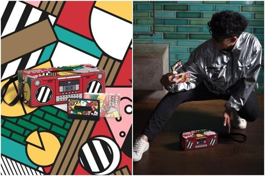 「MOOSIC樂餅禮盒」外盒設計一體成形,附贈獨家限量「W復古卡帶藍牙音響」。(台北W飯店提供)