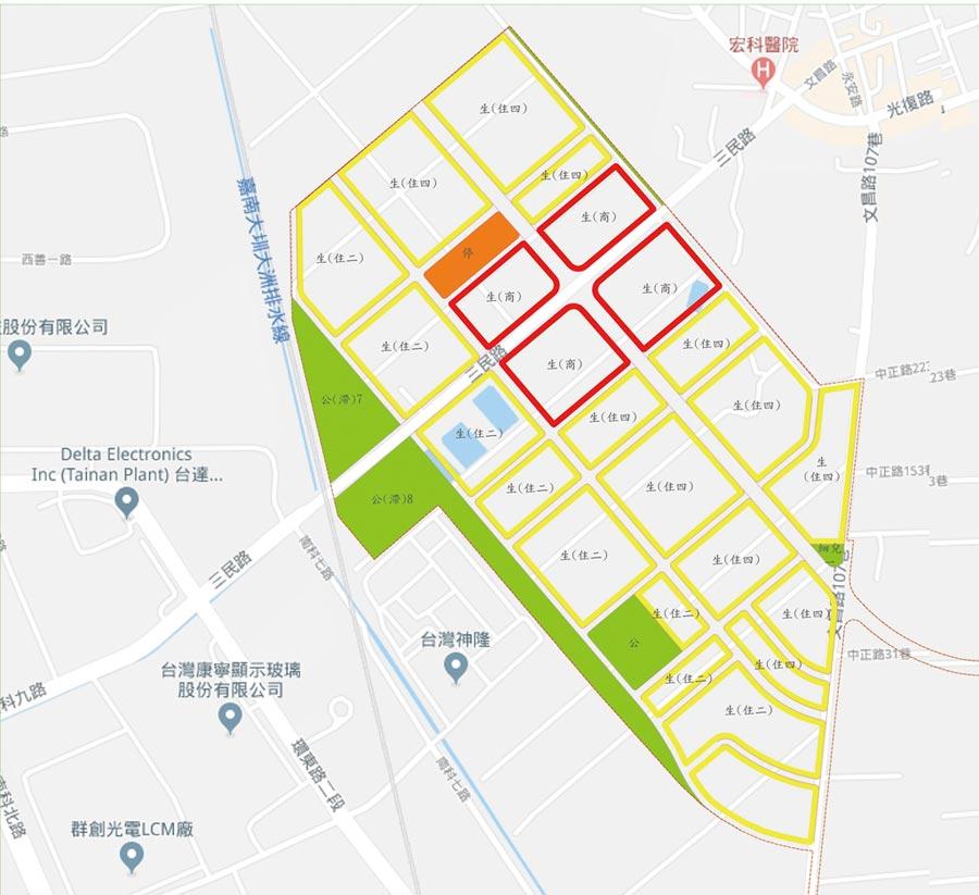 南科生活區區段徵收案示意圖。圖/台南市地政局提供