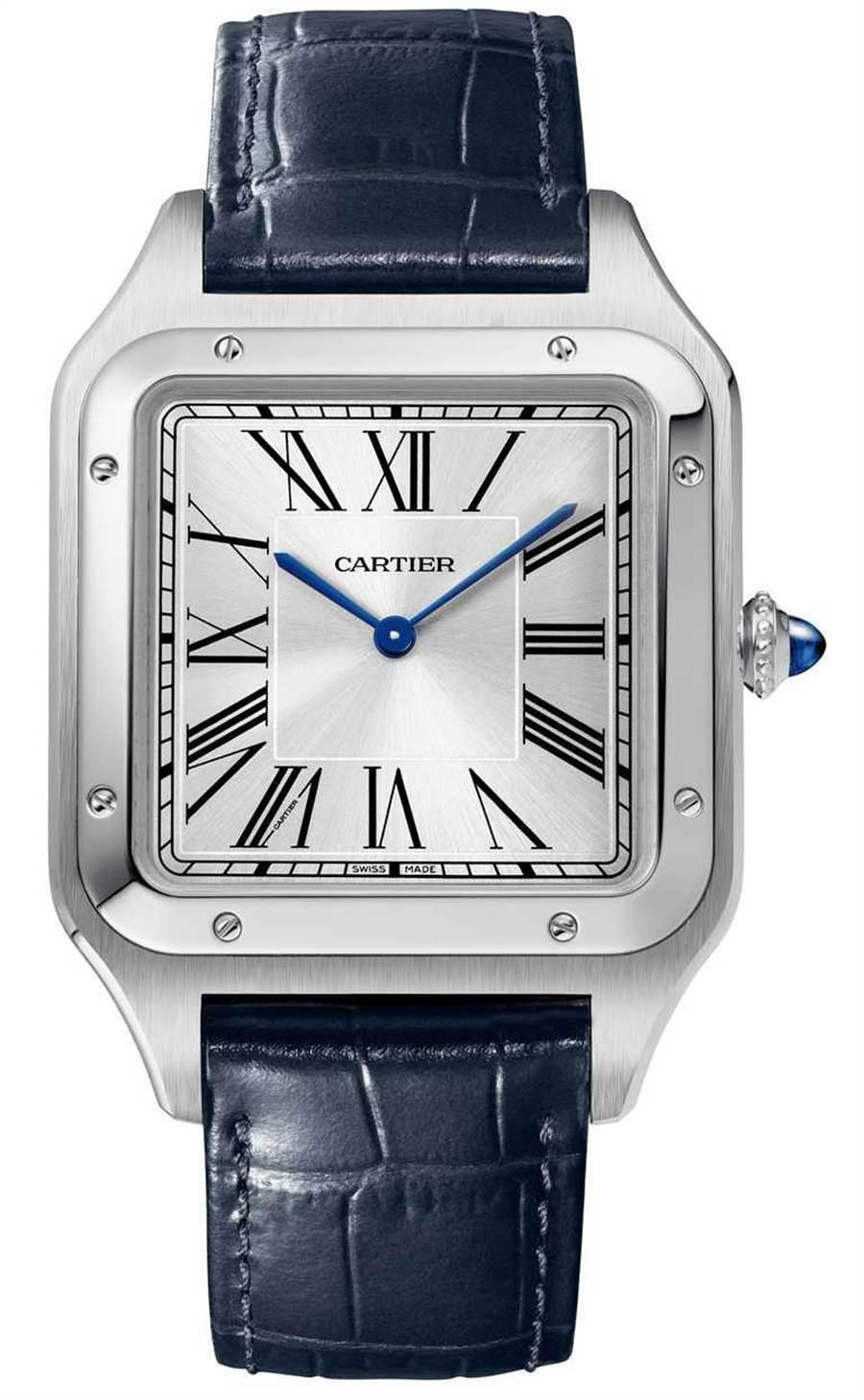 CARTIER「Santos-Dumont系列」超大型款腕表,精钢表壳,46.6mm╱180,000元。(图╱CARTIER提供)
